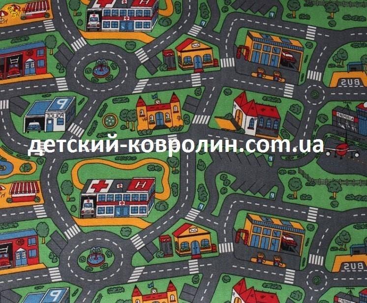 Ковролин с дорогами City Life. Покрытие детское на пол - фото