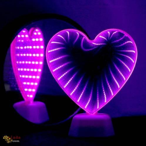 """Светильник Сердце """"Вечная любовь"""" бездна белый с розовым светом светодиодный зеркальный - фото"""