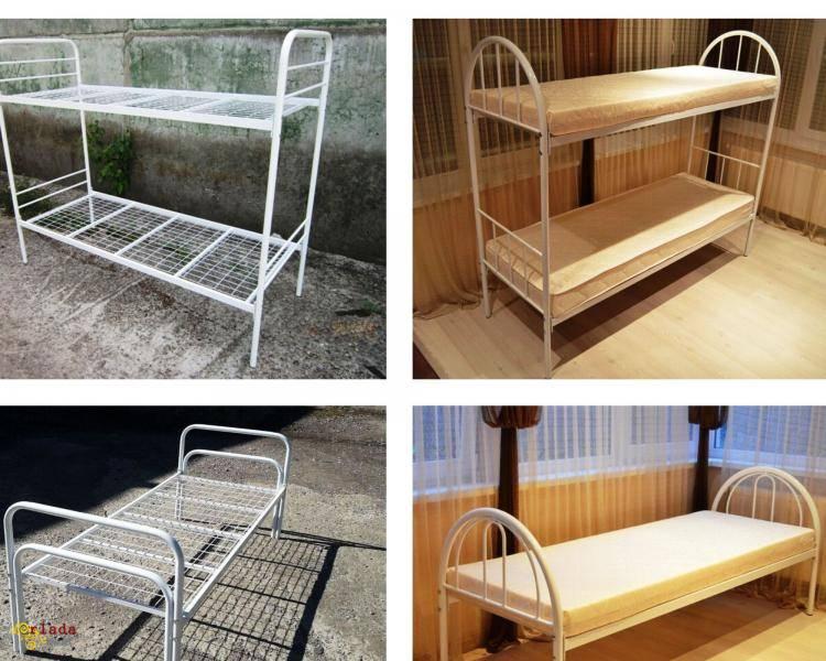 Металлическая кровать, матрасы, тумбы - фото