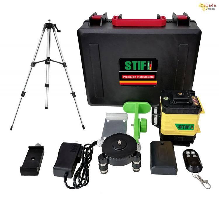 3D Лазерный уровень 12 линий STIF Germany Зеленый луч Нивелир + штатив - фото