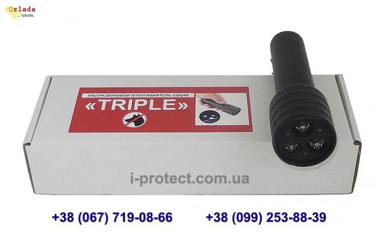ультразвуковой отпугиватель собак с тремя излучателями и фонариком-стробоскопом - фото