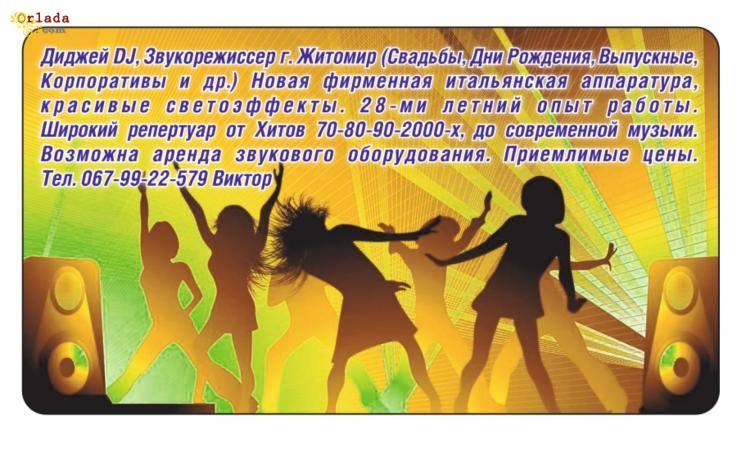 Диджей DJ Житомир(Свадьбы,Дни Рождения,Корпоративы и др.) Звукорежисер - фото