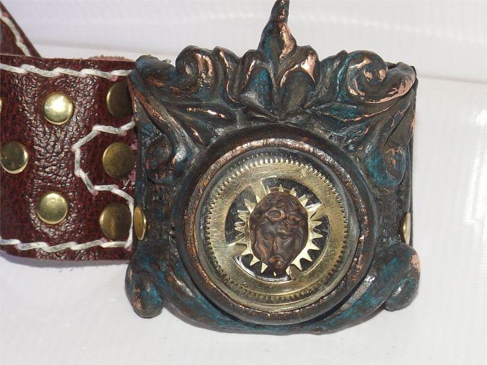 Кожаный браслет Образ Христа . - фото