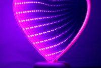 """Светильник Сердце """"Вечная любовь"""" бездна белый с розовым светом светодиодный зеркальный - фото 0"""